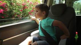 Weinig jongen kijkt door de open vensterauto stock footage