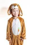 Weinig jongen kleedde zich als konijn royalty-vrije stock afbeeldingen