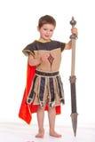 Weinig jongen kleedde zich als ridder Stock Afbeelding