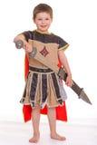 Weinig jongen kleedde zich als ridder Stock Fotografie
