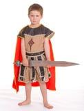Weinig jongen kleedde zich als ridder Royalty-vrije Stock Afbeelding