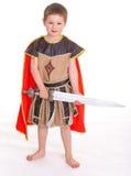 Weinig jongen kleedde zich als ridder Royalty-vrije Stock Afbeeldingen