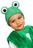 Weinig jongen in kostuum in de vorm van kikker Stock Afbeelding