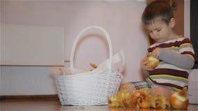 Weinig jongen maakt uien in de keuken schoon stock videobeelden
