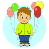 Weinig jongen met ballons Royalty-vrije Stock Afbeelding