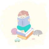 Weinig jongen met boek Stock Afbeelding