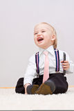 Weinig jongen met cellphone royalty-vrije stock afbeelding