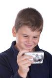 Weinig jongen met de camera royalty-vrije stock afbeelding