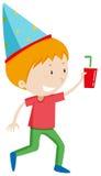 Weinig jongen met drank en partijhoed Royalty-vrije Stock Fotografie
