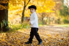 Weinig jongen met een groot blad in het park Stock Afbeeldingen