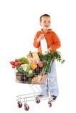 Weinig jongen met fundamenteel gezond voedsel stock afbeeldingen