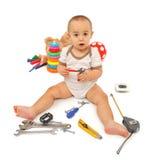 Weinig jongen met hulpmiddelen Stock Fotografie