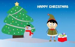 Weinig jongen met Kerstmanzak en sneeuwman op Kerstmis Stock Fotografie