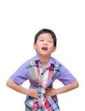 Weinig jongen met maagpijn Stock Foto