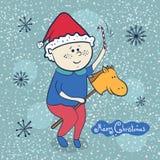 Weinig jongen met stuk speelgoed paard, Kerstmisillustraties Royalty-vrije Stock Afbeelding