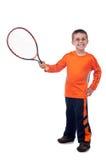 Weinig jongen met tennisracket Stock Afbeelding