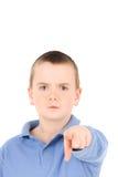 Weinig jongen met vinger Stock Afbeelding