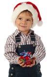 Weinig jongen met weinig de giftdoos van Kerstmis Royalty-vrije Stock Foto