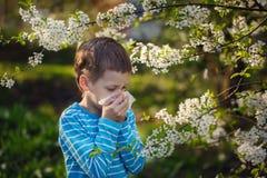 Weinig jongen niest wegens een allergie aan stuifmeel stock foto