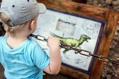 Weinig jongen op de achtergrond van de tekens met de beschrijving van een dinosaurus in het park van dinosaurussen stock foto