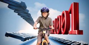 Weinig jongen op een fiets met binaire code Stock Foto