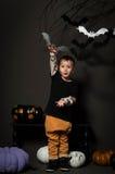 Weinig jongen op Halloween-partij Stock Fotografie