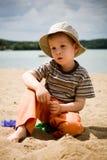 Weinig jongen op strand Royalty-vrije Stock Foto