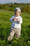 Weinig jongen op weide Stock Foto's