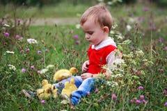 Weinig jongen op weide het spelen met eendjes Stock Foto's