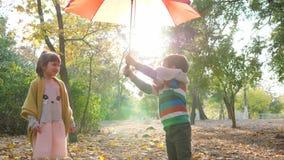 Weinig jongen opent een paraplu en geeft het aan leuk klein meisje in backlight bij de herfstpark stock video