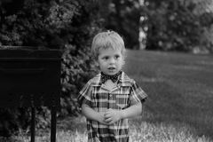 Weinig jongen in overhemd en vlinderdas in de het parkzwarte & Wit Stock Foto