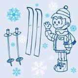 Weinig jongen, paar hemelen en snowlfakes op blauw Stock Foto's