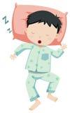 Weinig jongen in pyjama's het slapen stock illustratie
