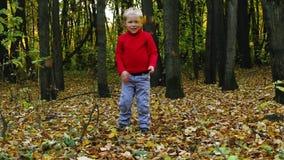 Weinig jongen in rood werpt droge bladeren in de herfst stock footage