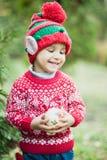 Weinig jongen in sweater en hoed die op Kerstmis in het hout wachten Stock Fotografie