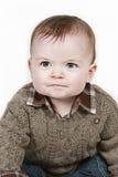Weinig Jongen van de Baby op witte genomen close-up royalty-vrije stock afbeelding
