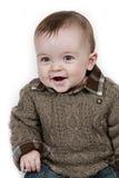 Weinig Jongen van de Baby op witte genomen close-up royalty-vrije stock afbeeldingen