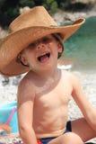 Weinig jongen in zonneschijn Stock Foto's