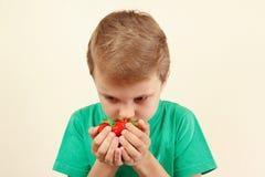 Weinig jongens ruikend handvol verse aardbeien Royalty-vrije Stock Foto's