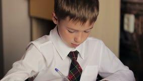 Weinig jongensclose-up van een schooljongen in een wit stock video