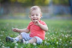 Weinig jongensportret in het park Het lachen op gras Royalty-vrije Stock Foto's