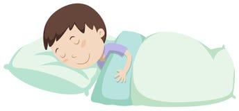 Weinig jongensslaap onder deken vector illustratie