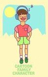 Weinig karakter van het jongensbeeldverhaal Stock Foto