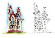 Weinig kasteel Waterverfhand getrokken illustratie vector illustratie