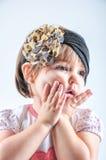 Weinig Kaukasisch geïsoleerd meisje Stock Foto