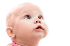 Weinig Kaukasische babyverrassing die omhoog eruit zien Stock Foto