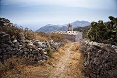 Weinig kerk in Mani, Griekenland Stock Foto's