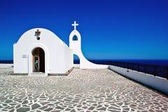 Weinig kerk in Rhodos, Griekenland Stock Foto