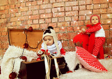 Weinig Kerstmisjongens royalty-vrije stock foto's