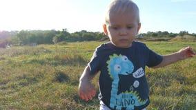 Weinig kind gaat achter de camera op groen gras bij het gebied bij zonnige dag Baby die bij het gazon lopen openlucht toddler stock videobeelden